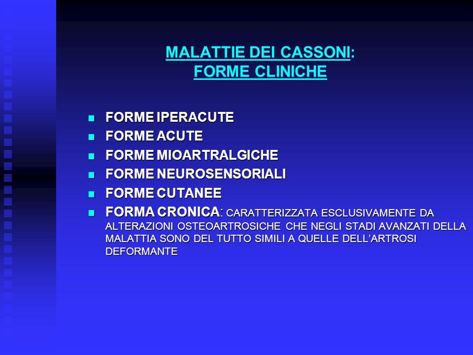 MALATTIE DEI CASSONI: FORME CLINICHE FORME IPERACUTE FORME IPERACUTE FORME ACUTE FORME ACUTE FORME MIOARTRALGICHE FORME MIOARTRALGICHE FORME NEUROSENSORIALI FORME NEUROSENSORIALI FORME CUTANEE FORME CUTANEE FORMA CRONICA: CARATTERIZZATA ESCLUSIVAMENTE DA ALTERAZIONI OSTEOARTROSICHE CHE NEGLI STADI AVANZATI DELLA MALATTIA SONO DEL TUTTO SIMILI A QUELLE DELL'ARTROSI DEFORMANTE FORMA CRONICA: CARATTERIZZATA ESCLUSIVAMENTE DA ALTERAZIONI OSTEOARTROSICHE CHE NEGLI STADI AVANZATI DELLA MALATTIA SONO DEL TUTTO SIMILI A QUELLE DELL'ARTROSI DEFORMANTE