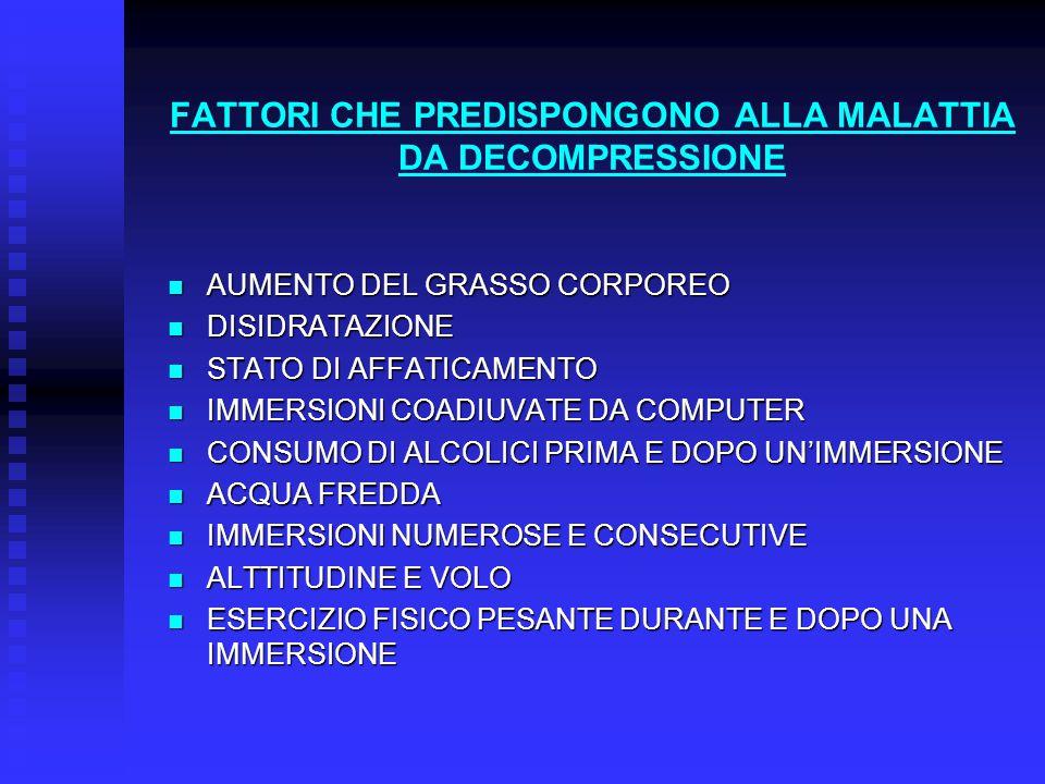 FATTORI CHE PREDISPONGONO ALLA MALATTIA DA DECOMPRESSIONE AUMENTO DEL GRASSO CORPOREO AUMENTO DEL GRASSO CORPOREO DISIDRATAZIONE DISIDRATAZIONE STATO DI AFFATICAMENTO STATO DI AFFATICAMENTO IMMERSIONI COADIUVATE DA COMPUTER IMMERSIONI COADIUVATE DA COMPUTER CONSUMO DI ALCOLICI PRIMA E DOPO UN'IMMERSIONE CONSUMO DI ALCOLICI PRIMA E DOPO UN'IMMERSIONE ACQUA FREDDA ACQUA FREDDA IMMERSIONI NUMEROSE E CONSECUTIVE IMMERSIONI NUMEROSE E CONSECUTIVE ALTTITUDINE E VOLO ALTTITUDINE E VOLO ESERCIZIO FISICO PESANTE DURANTE E DOPO UNA IMMERSIONE ESERCIZIO FISICO PESANTE DURANTE E DOPO UNA IMMERSIONE