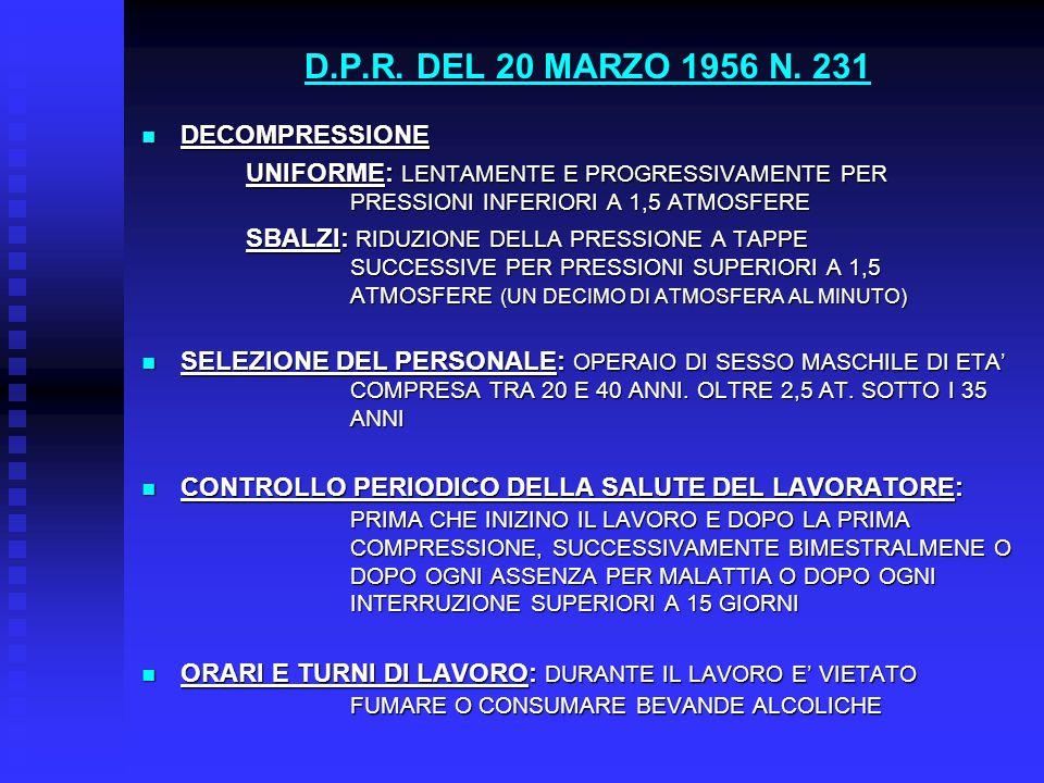 D.P.R. DEL 20 MARZO 1956 N. 231 DECOMPRESSIONE DECOMPRESSIONE UNIFORME: LENTAMENTE E PROGRESSIVAMENTE PER PRESSIONI INFERIORI A 1,5 ATMOSFERE SBALZI: