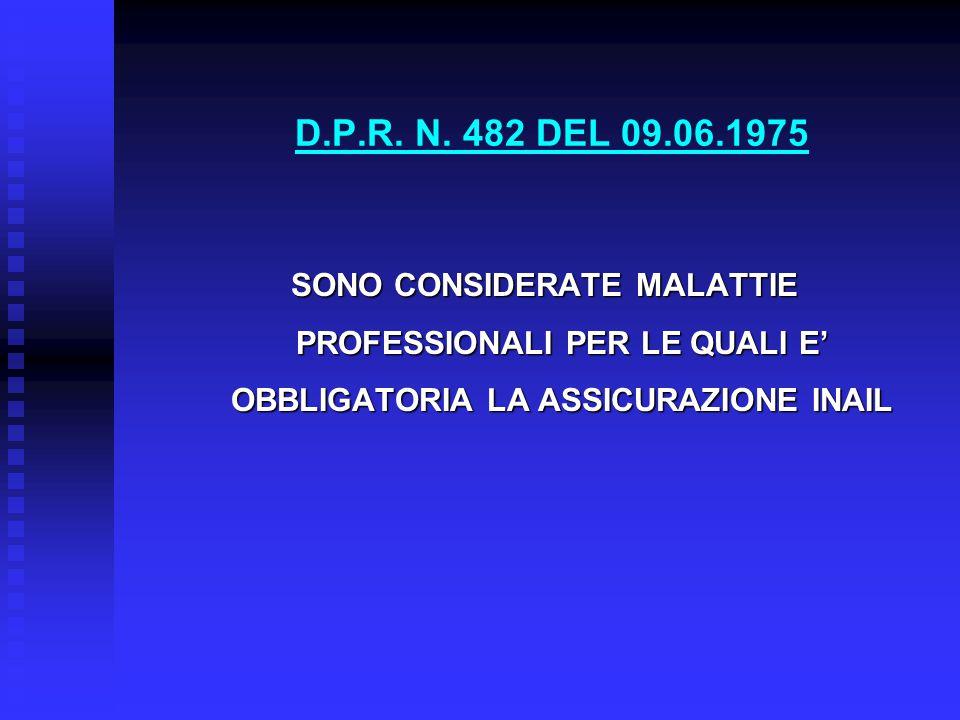 D.P.R. N. 482 DEL 09.06.1975 SONO CONSIDERATE MALATTIE PROFESSIONALI PER LE QUALI E' OBBLIGATORIA LA ASSICURAZIONE INAIL