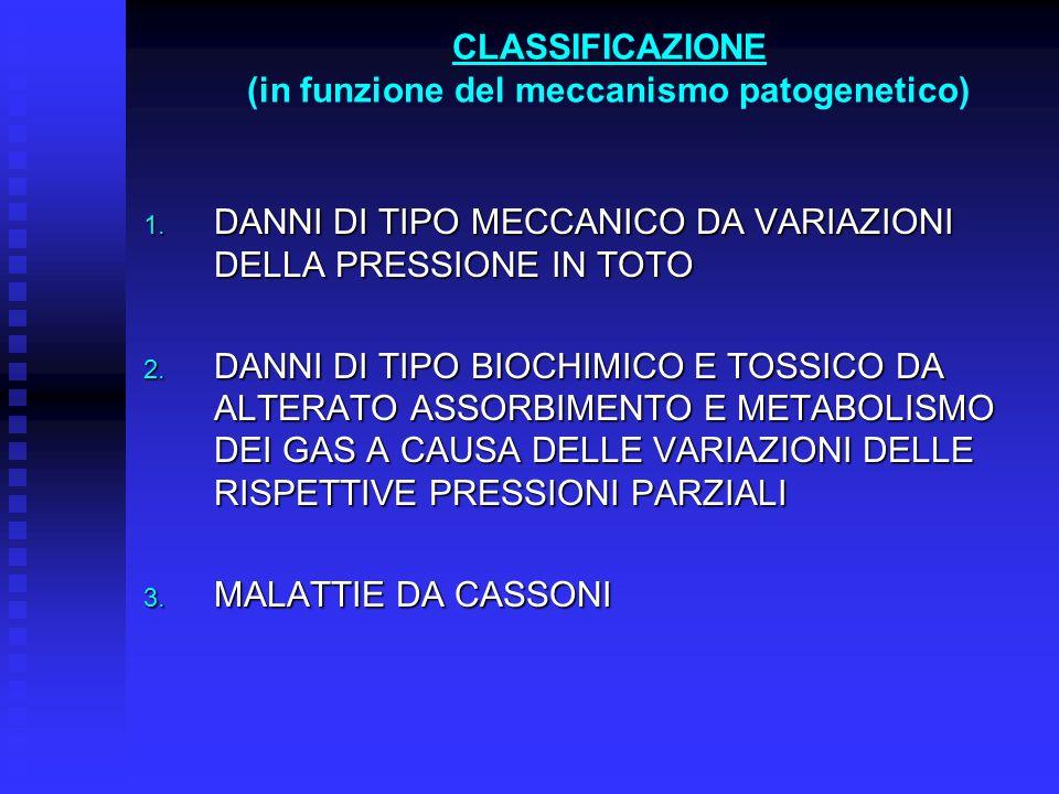 CLASSIFICAZIONE (in funzione del meccanismo patogenetico) 1. DANNI DI TIPO MECCANICO DA VARIAZIONI DELLA PRESSIONE IN TOTO 2. DANNI DI TIPO BIOCHIMICO