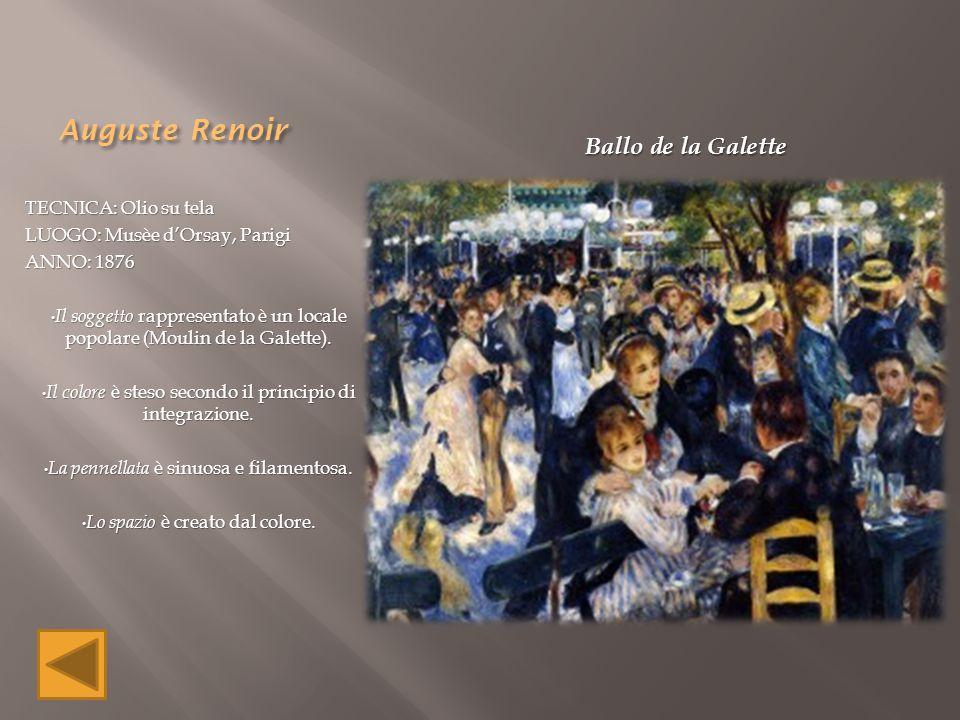 Auguste Renoir TECNICA: Olio su tela LUOGO: Musèe d'Orsay, Parigi ANNO: 1876 Il soggetto rappresentato è un locale popolare (Moulin de la Galette). Il