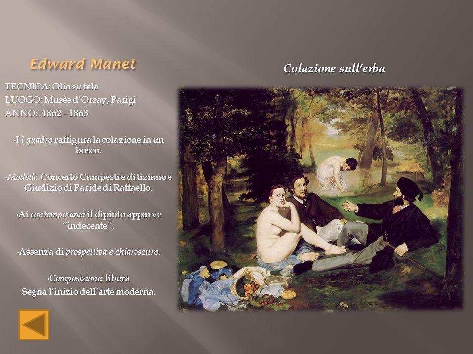 Edward Manet TECNICA: Olio su tela LUOGO: Musèe d'Orsay, Parigi ANNO: 1862 – 1863 I l quadro raffigura la colazione in un bosco. I l quadro raffigura