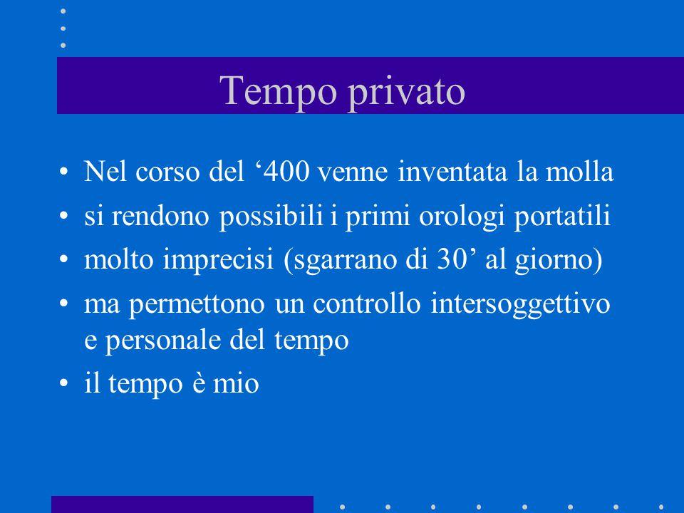 Tempo privato Nel corso del '400 venne inventata la molla si rendono possibili i primi orologi portatili molto imprecisi (sgarrano di 30' al giorno) m