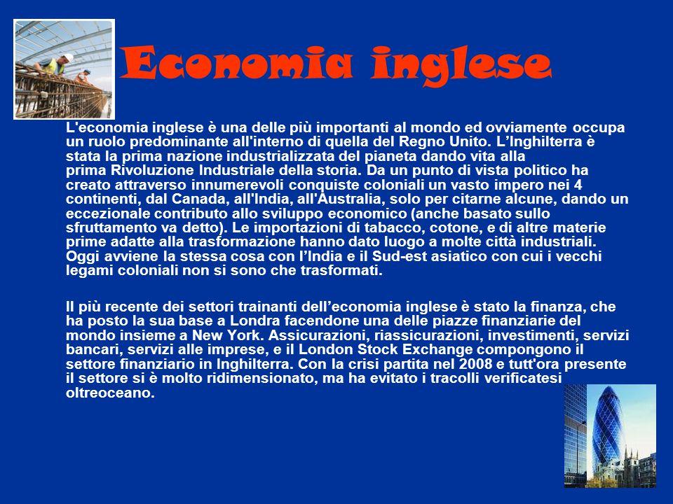 Economia inglese L'economia inglese è una delle più importanti al mondo ed ovviamente occupa un ruolo predominante all'interno di quella del Regno Uni