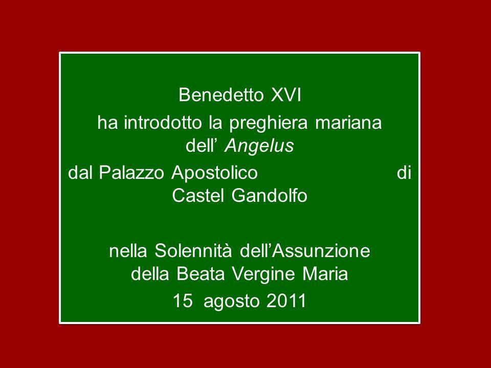 Benedetto XVI ha introdotto la preghiera mariana dell' Angelus dal Palazzo Apostolico di Castel Gandolfo nella Solennità dell'Assunzione della Beata Vergine Maria 15 agosto 2011 Benedetto XVI ha introdotto la preghiera mariana dell' Angelus dal Palazzo Apostolico di Castel Gandolfo nella Solennità dell'Assunzione della Beata Vergine Maria 15 agosto 2011