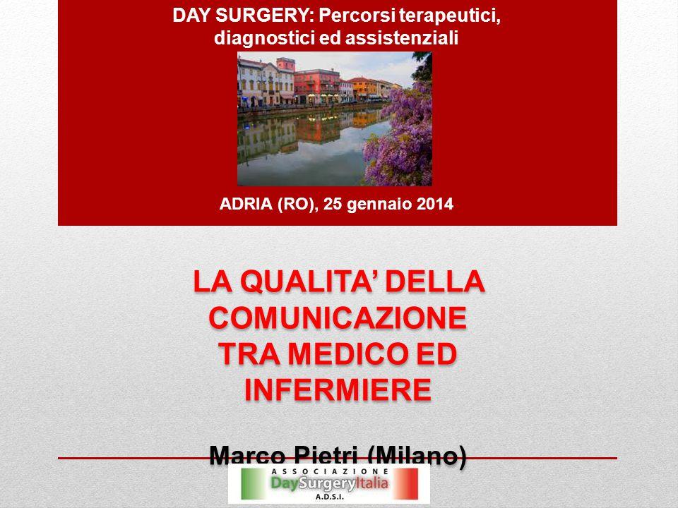 DAY SURGERY: Percorsi terapeutici, diagnostici ed assistenziali ADRIA (RO), 25 gennaio 2014 LA QUALITA' DELLA COMUNICAZIONE TRA MEDICO ED INFERMIERE Marco Pietri (Milano) LA QUALITA' DELLA COMUNICAZIONE TRA MEDICO ED INFERMIERE Marco Pietri (Milano)