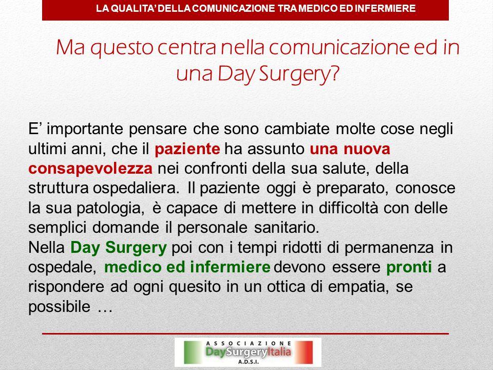 LA QUALITA' DELLA COMUNICAZIONE TRA MEDICO ED INFERMIERE Ma questo centra nella comunicazione ed in una Day Surgery.