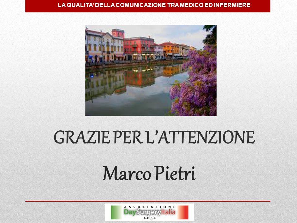 Marco Pietri GRAZIE PER L'ATTENZIONE LA QUALITA' DELLA COMUNICAZIONE TRA MEDICO ED INFERMIERE