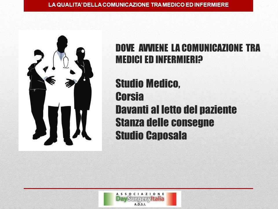DOVE AVVIENE LA COMUNICAZIONE TRA MEDICI ED INFERMIERI.