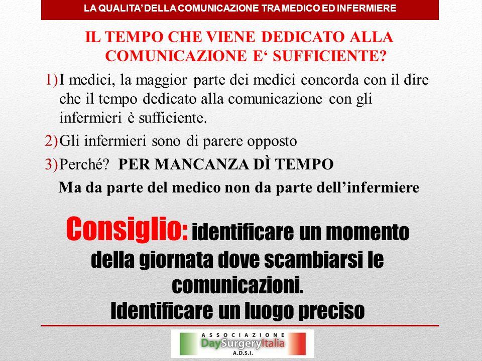 LA QUALITA' DELLA COMUNICAZIONE TRA MEDICO ED INFERMIERE Consiglio: identificare un momento della giornata dove scambiarsi le comunicazioni.