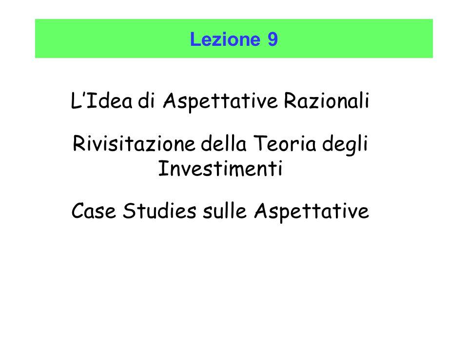 Lezione 9 L'Idea di Aspettative Razionali Rivisitazione della Teoria degli Investimenti Case Studies sulle Aspettative