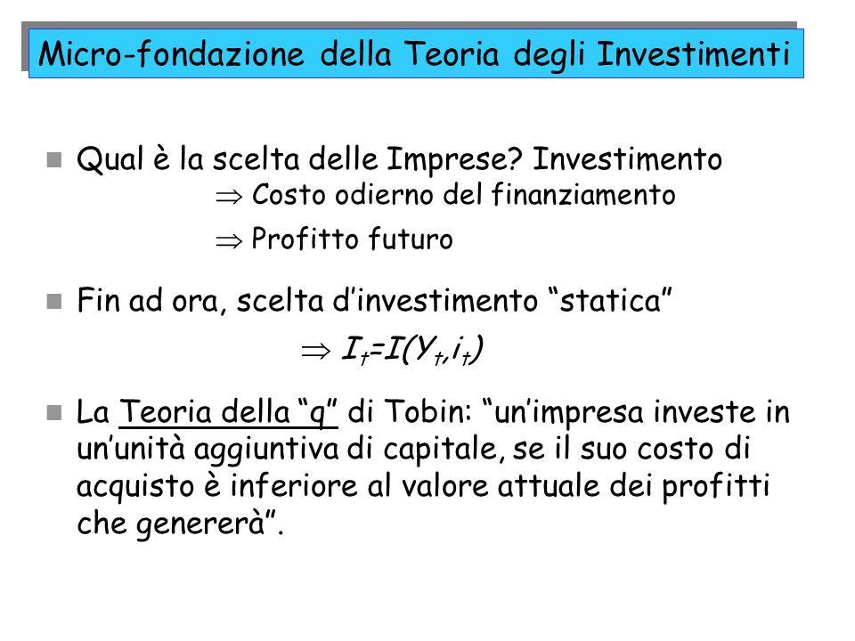 Micro-fondazione della Teoria degli Investimenti Qual è la scelta delle Imprese? Investimento  Costo odierno del finanziamento  Profitto futuro Fin