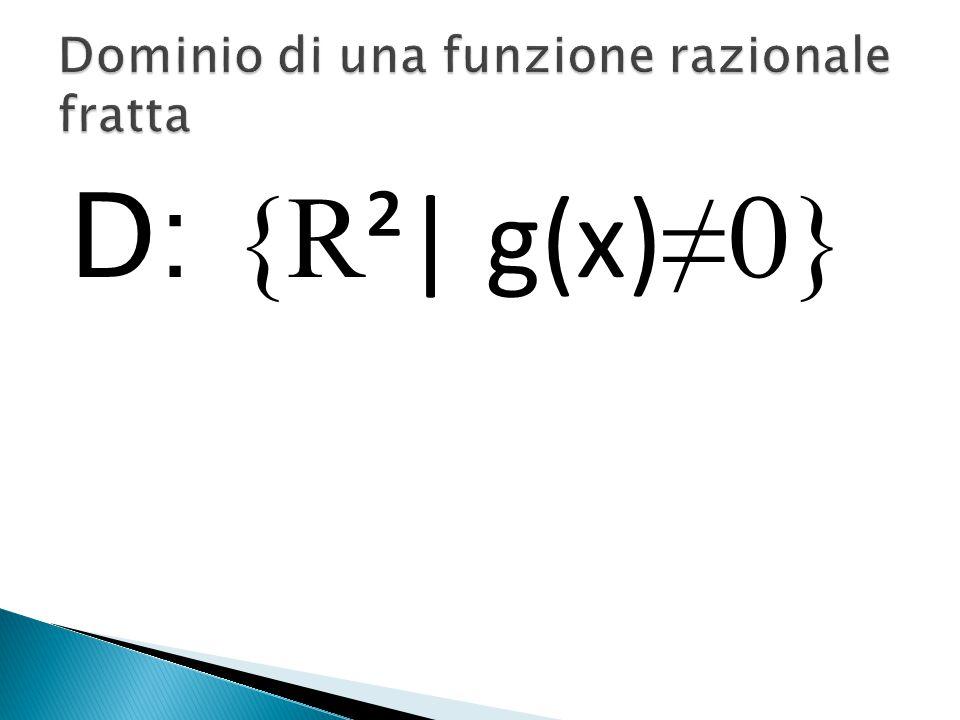 D: {R²} Con n dispari (n: radicando). D: {R² f(x)≥0} Con n pari.