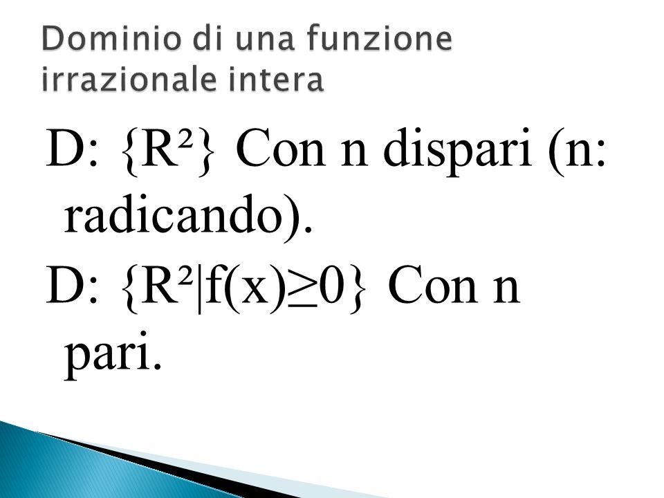 D: {R²} Con n dispari (n: radicando). D: {R²|f(x)≥0} Con n pari.
