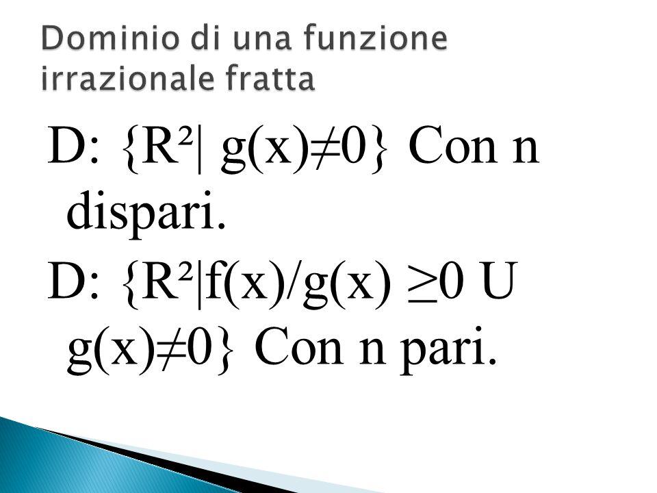 D: {R²| g(x)≠0} Con n dispari. D: {R²|f(x)/g(x) ≥0 U g(x)≠0} Con n pari.