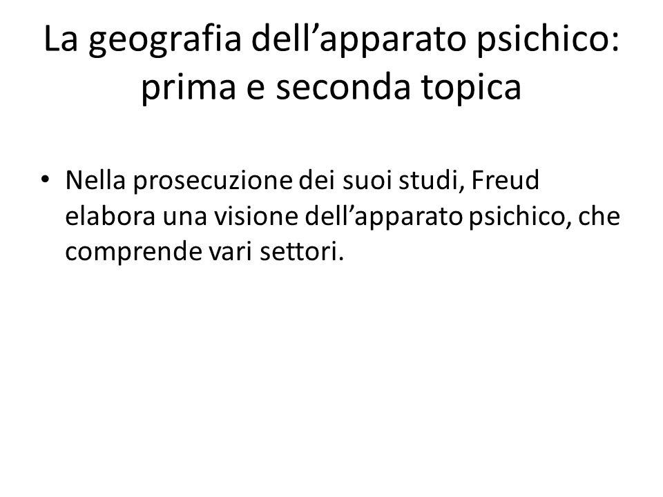La geografia dell'apparato psichico: prima e seconda topica Nella prosecuzione dei suoi studi, Freud elabora una visione dell'apparato psichico, che comprende vari settori.