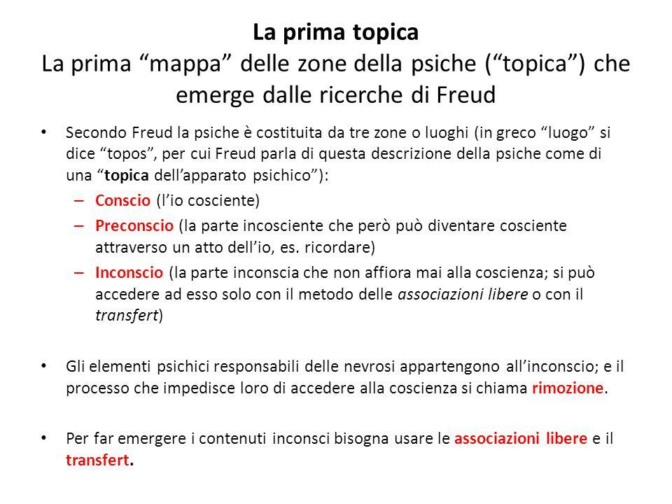 """La prima topica La prima """"mappa"""" delle zone della psiche (""""topica"""") che emerge dalle ricerche di Freud Secondo Freud la psiche è costituita da tre zon"""