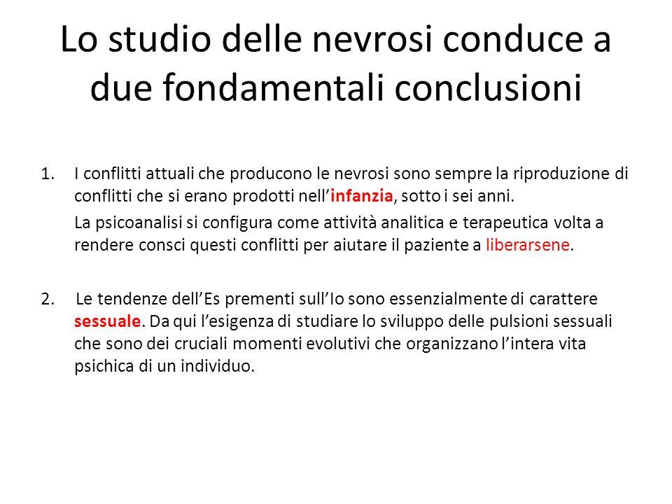 Lo studio delle nevrosi conduce a due fondamentali conclusioni 1.I conflitti attuali che producono le nevrosi sono sempre la riproduzione di conflitti