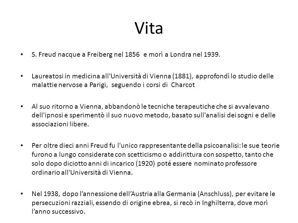 Vita S.Freud nacque a Freiberg nel 1856 e morì a Londra nel 1939.