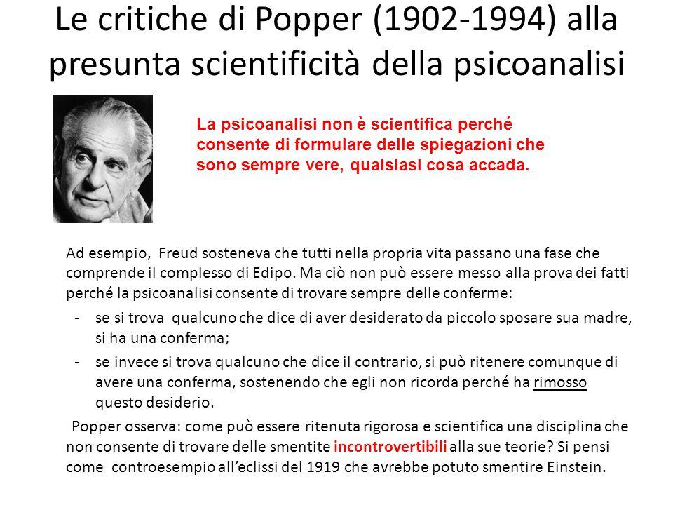 Le critiche di Popper (1902-1994) alla presunta scientificità della psicoanalisi Ad esempio, Freud sosteneva che tutti nella propria vita passano una fase che comprende il complesso di Edipo.