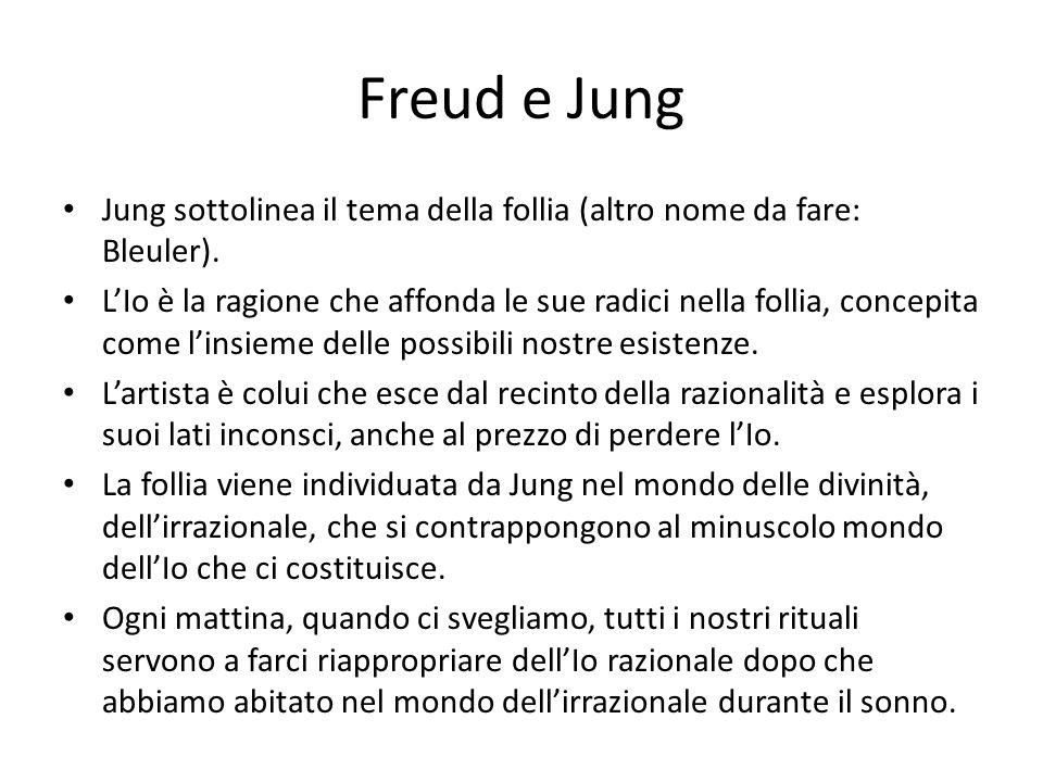 Freud e Jung Jung sottolinea il tema della follia (altro nome da fare: Bleuler). L'Io è la ragione che affonda le sue radici nella follia, concepita c