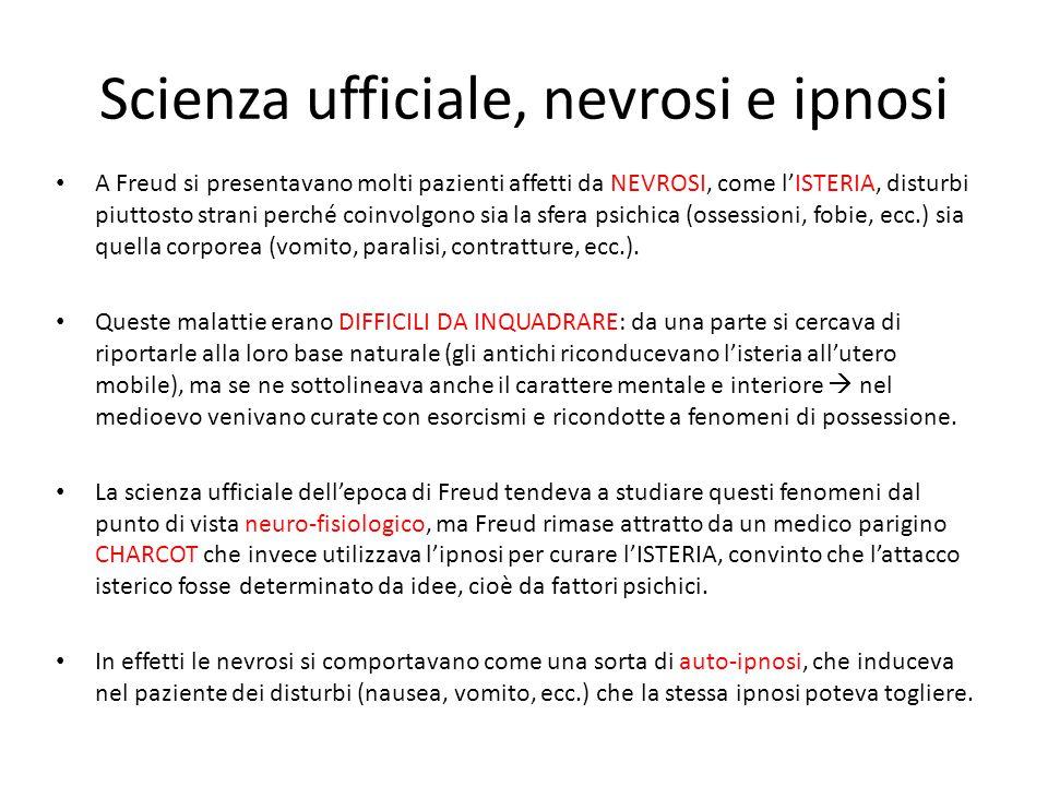 Scienza ufficiale, nevrosi e ipnosi A Freud si presentavano molti pazienti affetti da NEVROSI, come l'ISTERIA, disturbi piuttosto strani perché coinvo
