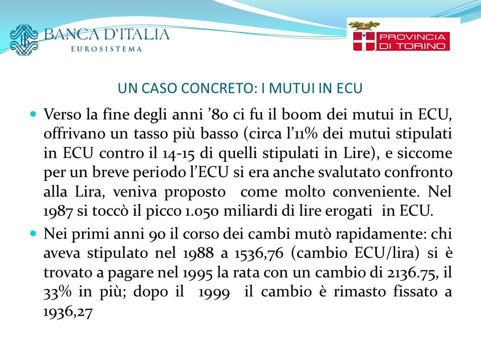 UN CASO CONCRETO: I MUTUI IN ECU Verso la fine degli anni '80 ci fu il boom dei mutui in ECU, offrivano un tasso più basso (circa l'11% dei mutui stipulati in ECU contro il 14-15 di quelli stipulati in Lire), e siccome per un breve periodo l'ECU si era anche svalutato confronto alla Lira, veniva proposto come molto conveniente.