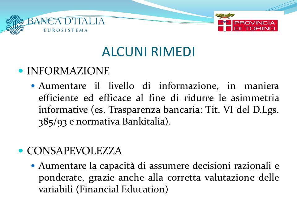 ALCUNI RIMEDI INFORMAZIONE Aumentare il livello di informazione, in maniera efficiente ed efficace al fine di ridurre le asimmetria informative (es.