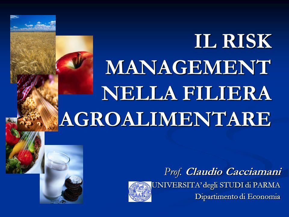 IL RISK MANAGEMENT NELLA FILIERA AGROALIMENTARE Prof. Claudio Cacciamani UNIVERSITA' degli STUDI di PARMA Dipartimento di Economia