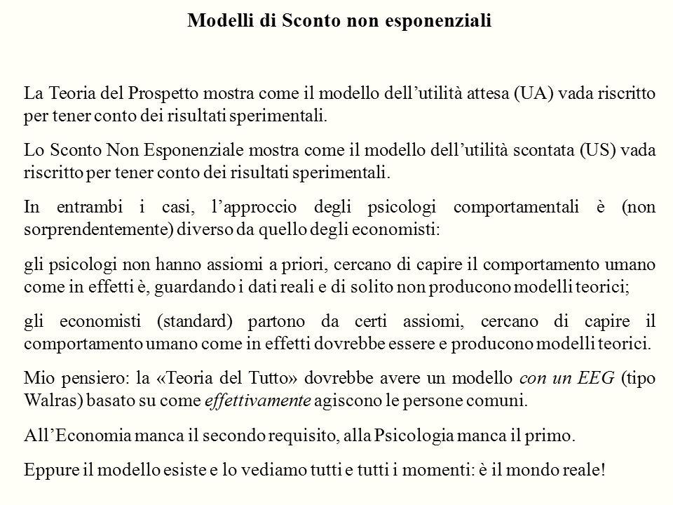 Modelli di Sconto non esponenziali La Teoria del Prospetto mostra come il modello dell'utilità attesa (UA) vada riscritto per tener conto dei risultat