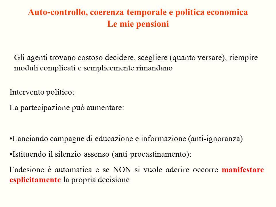Auto-controllo, coerenza temporale e politica economica Le mie pensioni Gli agenti trovano costoso decidere, scegliere (quanto versare), riempire modu