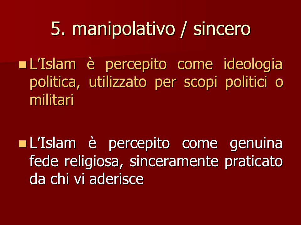 5. manipolativo / sincero L'Islam è percepito come ideologia politica, utilizzato per scopi politici o militari L'Islam è percepito come genuina fede
