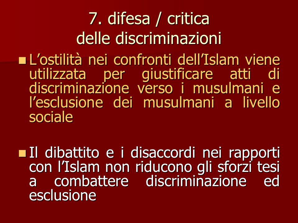 7. difesa / critica delle discriminazioni L'ostilità nei confronti dell'Islam viene utilizzata per giustificare atti di discriminazione verso i musulm