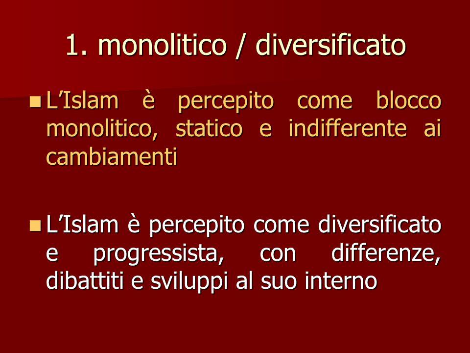 1. monolitico / diversificato L'Islam è percepito come blocco monolitico, statico e indifferente ai cambiamenti L'Islam è percepito come blocco monoli
