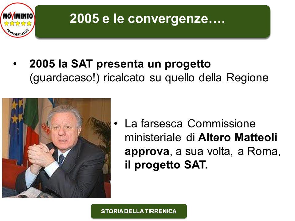STORIA DELLA TIRRENICA La farsesca Commissione ministeriale di Altero Matteoli approva, a sua volta, a Roma, il progetto SAT.