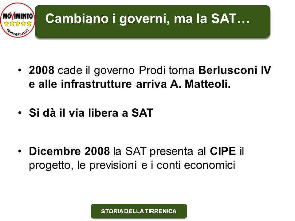 STORIA DELLA TIRRENICA 2008 cade il governo Prodi torna Berlusconi IV e alle infrastrutture arriva A.