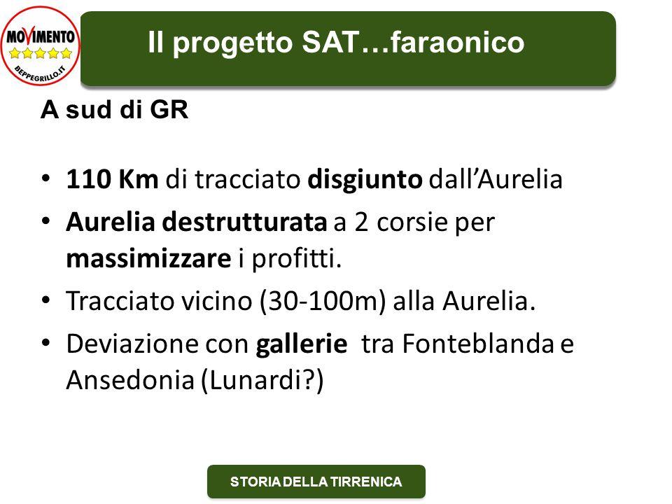 STORIA DELLA TIRRENICA 110 Km di tracciato disgiunto dall'Aurelia Aurelia destrutturata a 2 corsie per massimizzare i profitti.
