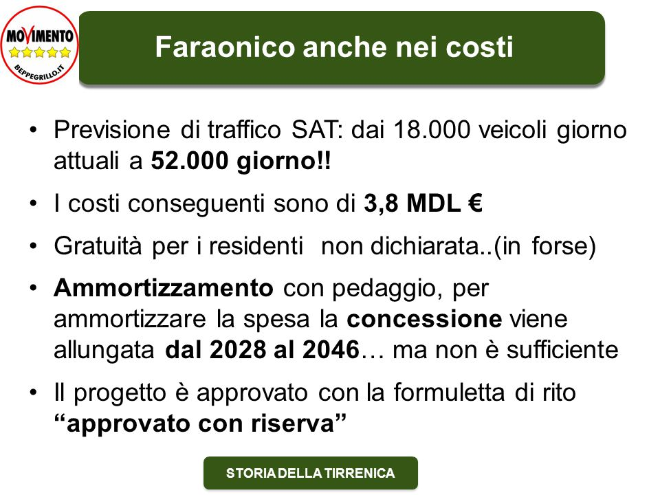STORIA DELLA TIRRENICA Previsione di traffico SAT: dai 18.000 veicoli giorno attuali a 52.000 giorno!.