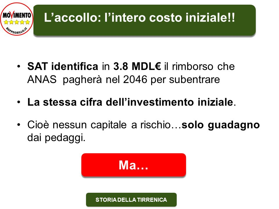 STORIA DELLA TIRRENICA SAT identifica in 3.8 MDL€ il rimborso che ANAS pagherà nel 2046 per subentrare La stessa cifra dell'investimento iniziale.