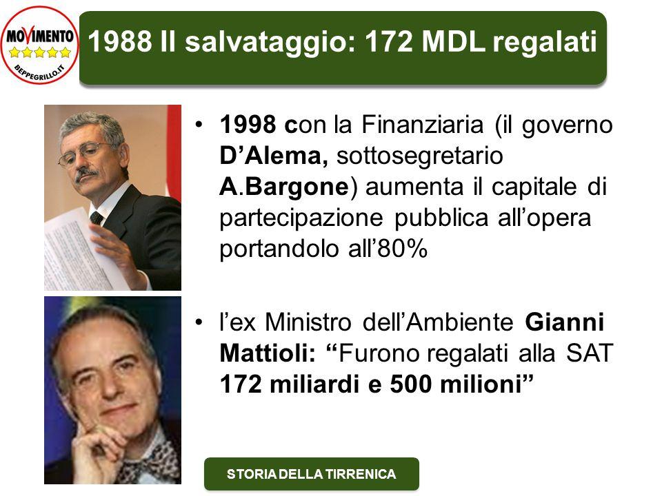 STORIA DELLA TIRRENICA 2000: prevale il buonsenso 5 dicembre 2000 il Governo Amato firma l'accordo per l'ammodernamento dell'Aurelia.