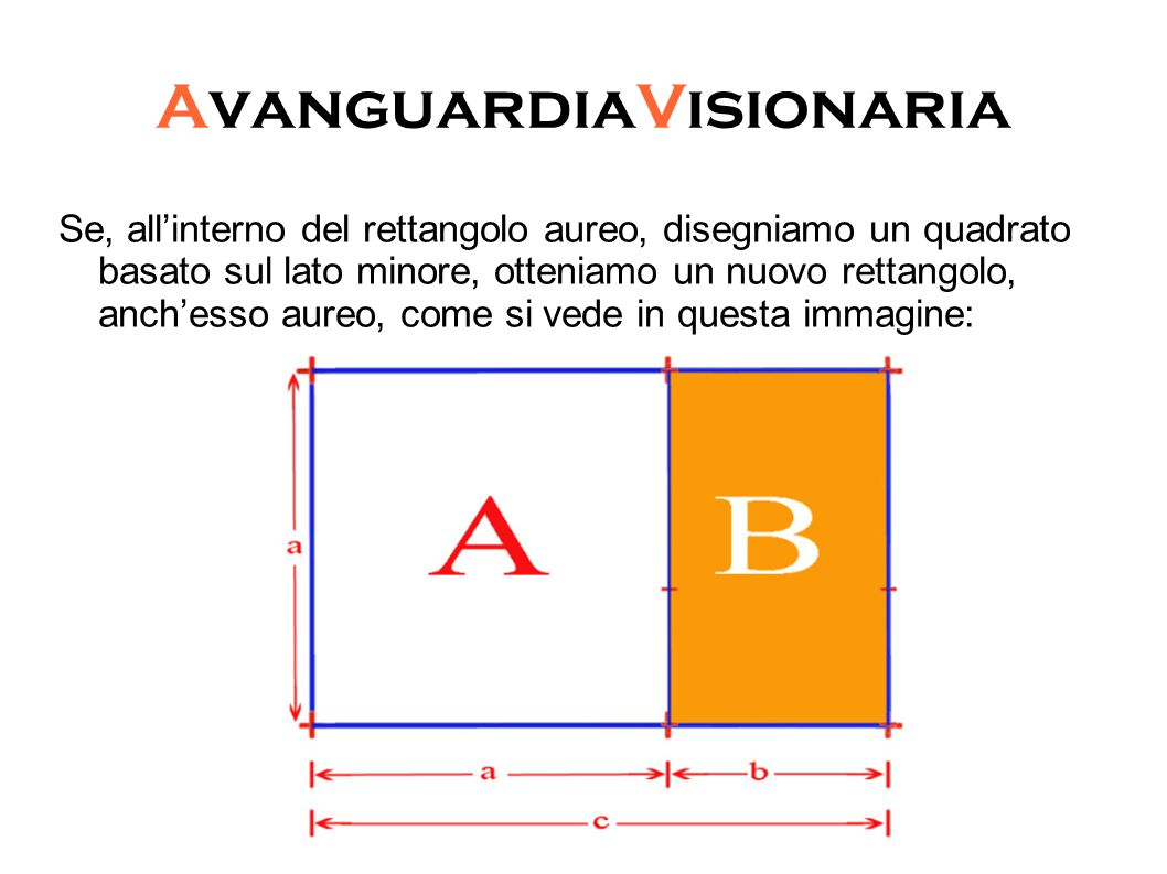 AvanguardiaVisionaria Se, all'interno del rettangolo aureo, disegniamo un quadrato basato sul lato minore, otteniamo un nuovo rettangolo, anch'esso aureo, come si vede in questa immagine: