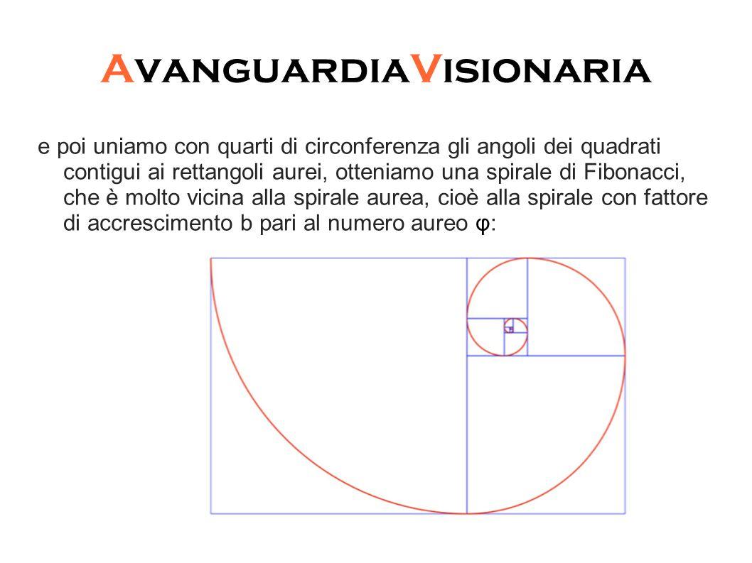 AvanguardiaVisionaria e poi uniamo con quarti di circonferenza gli angoli dei quadrati contigui ai rettangoli aurei, otteniamo una spirale di Fibonacci, che è molto vicina alla spirale aurea, cioè alla spirale con fattore di accrescimento b pari al numero aureo φ: