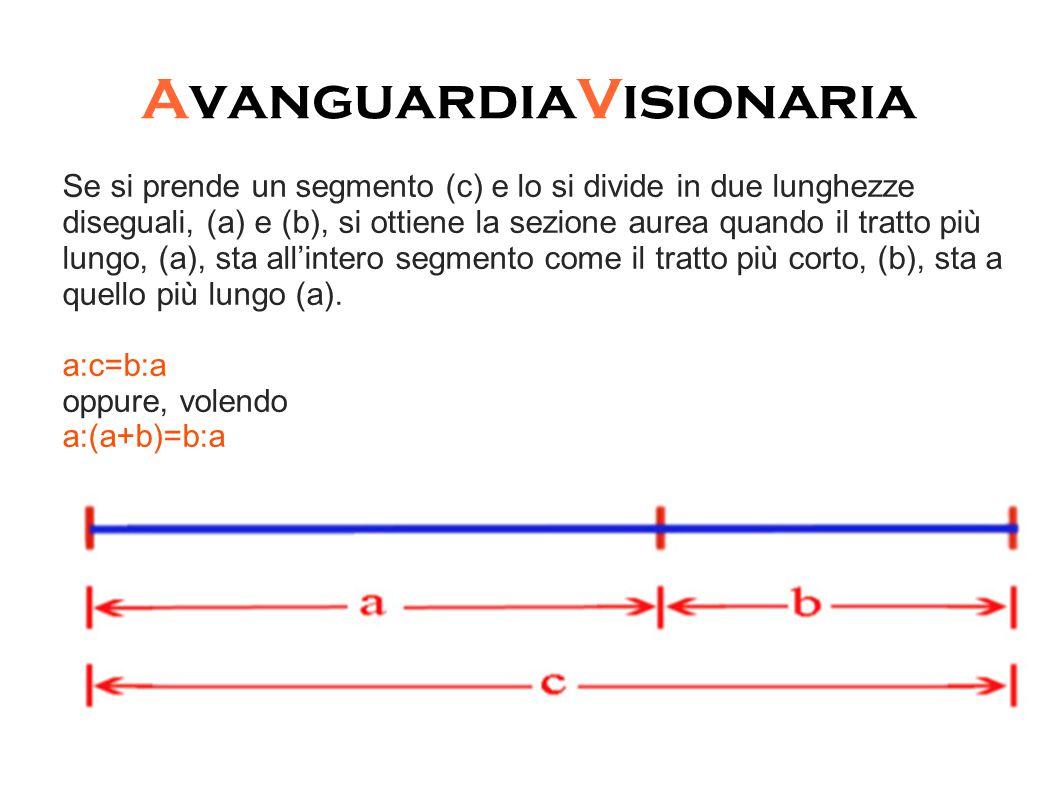 Se si prende un segmento (c) e lo si divide in due lunghezze diseguali, (a) e (b), si ottiene la sezione aurea quando il tratto più lungo, (a), sta all'intero segmento come il tratto più corto, (b), sta a quello più lungo (a).