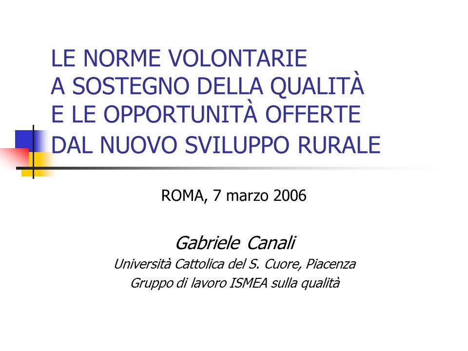 LE NORME VOLONTARIE A SOSTEGNO DELLA QUALITÀ E LE OPPORTUNITÀ OFFERTE DAL NUOVO SVILUPPO RURALE ROMA, 7 marzo 2006 Gabriele Canali Università Cattolica del S.