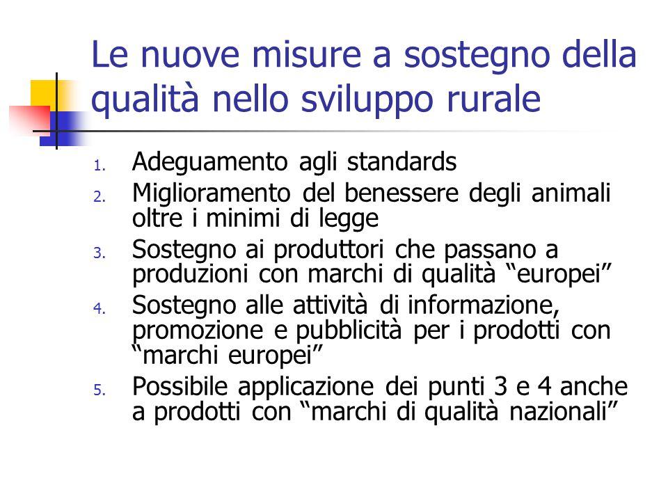 Le nuove misure a sostegno della qualità nello sviluppo rurale 1.