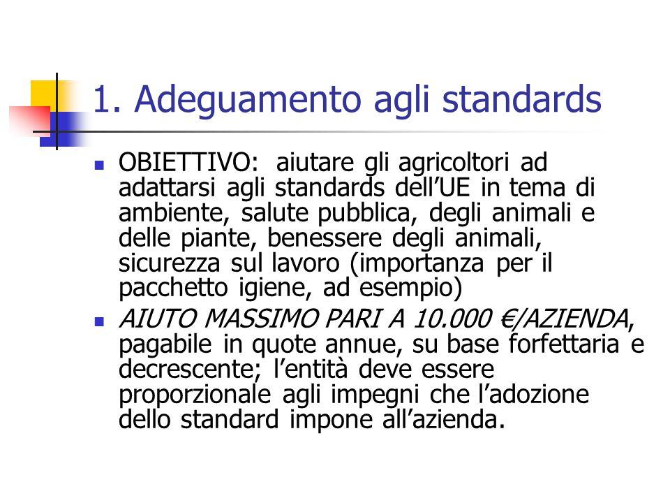 1. Adeguamento agli standards OBIETTIVO: aiutare gli agricoltori ad adattarsi agli standards dell'UE in tema di ambiente, salute pubblica, degli anima