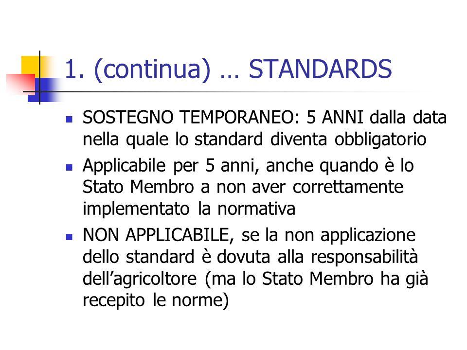 1. (continua) … STANDARDS SOSTEGNO TEMPORANEO: 5 ANNI dalla data nella quale lo standard diventa obbligatorio Applicabile per 5 anni, anche quando è l