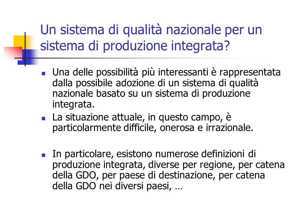 Un sistema di qualità nazionale per un sistema di produzione integrata.
