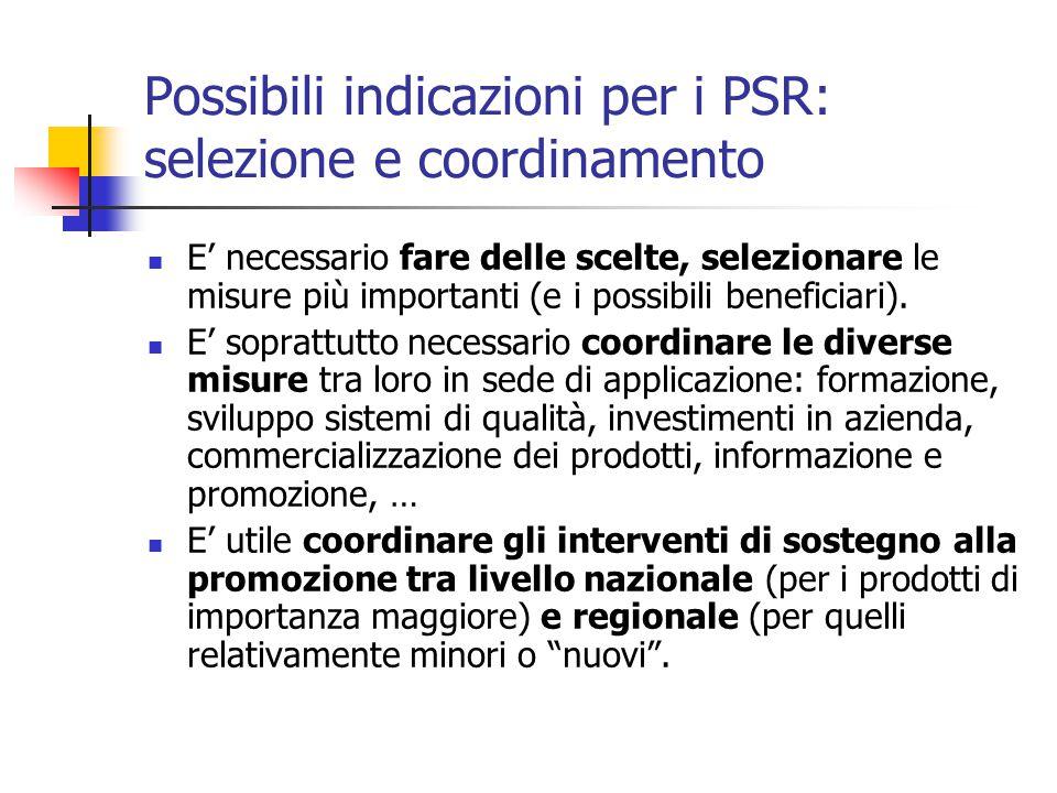 Possibili indicazioni per i PSR: selezione e coordinamento E' necessario fare delle scelte, selezionare le misure più importanti (e i possibili beneficiari).